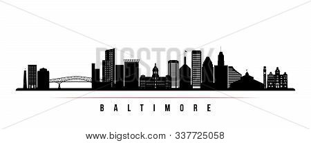 Baltimore Skyline Horizontal Banner. Black And White Silhouette Of Baltimore, Maryland. Vector Templ