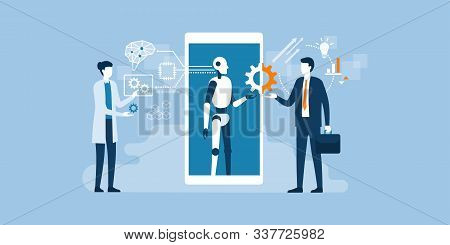 Scientist, Ai Robot And Businessman Working Together: Artificial Technology, Engineering And Busines