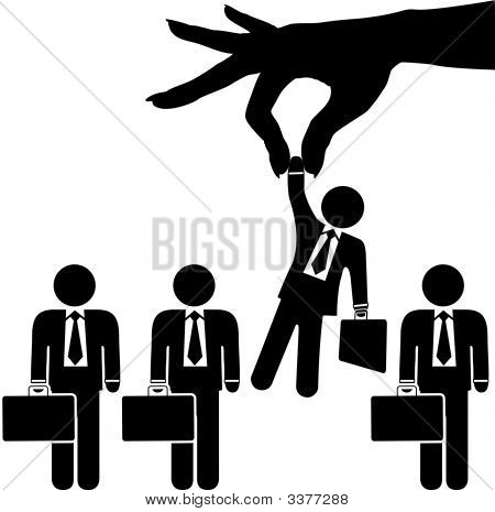 Woman Hand Picks Symbol Business Man From Row Of Businessmen