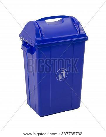 Blue Trash Bin Isolated On White Background