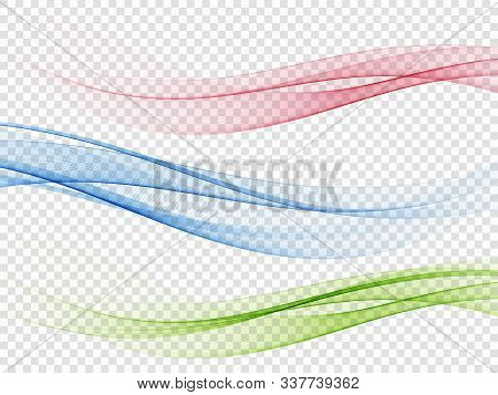 Set Of Abstract Color Wave. Color Smoke Wave. Transparent Color Wave. Blue, Pink, Green Color. Wavy