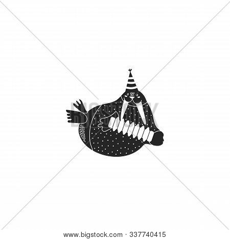 Black Icon Of Cute Walrus. Simple Character. Funny Animal Playing The Accordion.