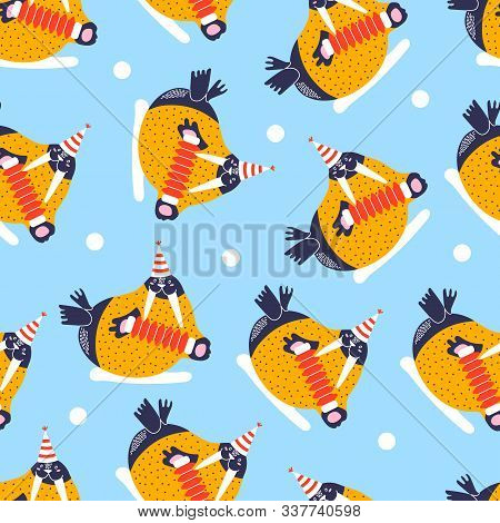 Seamless Pattern With Icons Of Cute Walrus. Background And Characters Hand Drawn Style For Happy New