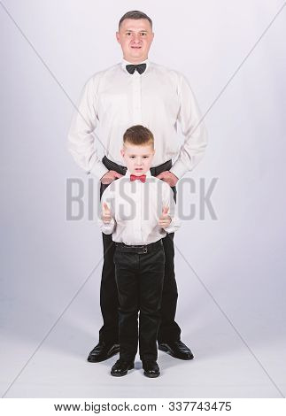 Fashion Expert. Tuxedo Style. Father And Son In Formal Suit. Happy Child With Father. Business Meeti