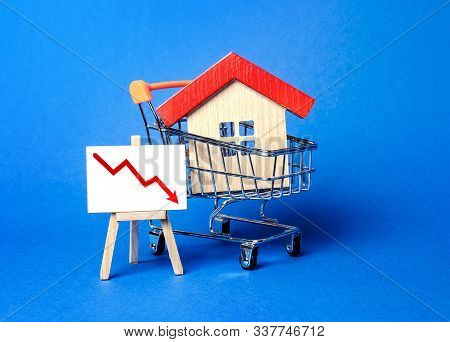 House In A Shopping Cart And Easel Red Arrow Down. The Fall Of The Real Estate Market. Concept Of Va