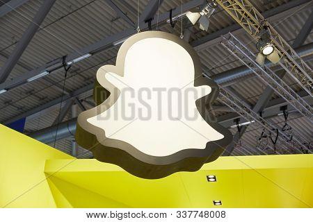 COLOGNE, SEPTEMBER 2019: Big Snapchat logo at the DMEXCO trade fair; ;