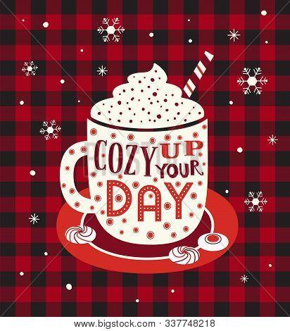 Hot Cocoa Mug Whipped Cream Flat Vector Icon. Winter Hot Drink Chocolate Cup Marshmallow Cartoon. Bu