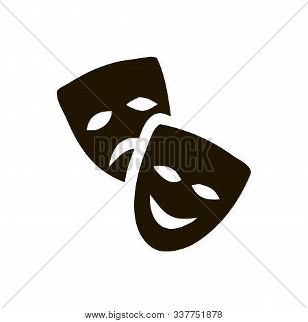 Original Vector Illustration Of Theatre Masks On A White Background. Comedy And Tragedy, In A Vintag