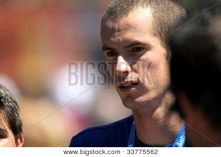 BARCELONA - APRIL, 24: British tennis player Andy Murray portrait before his match against Sergiy Stakhovsky  of Barcelona tennis tournament Conde de Godo on April 24, 2012 in Barcelona