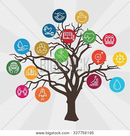 Icons Set Global Business, Economics And Marketing. Linear Style Icons. Sustainable Development Goal