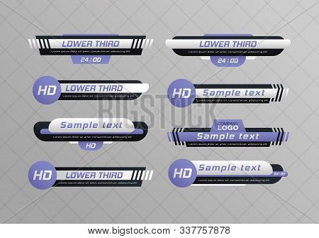 Tv News Bar.  Lower Third Tv News Bars Set Vector. Television Broadcast Media Title Banner. Digital