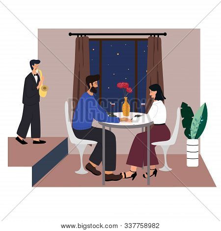 Cute Couple Sitting At Table, Drinking Wine And Talking. Man And Woman At Cafe On Date. Romantic  Co