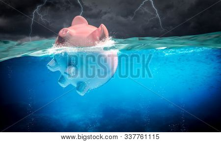 piggybank floats in the stormy sea, lightning in the background. 3d image render. concept of financial risk.