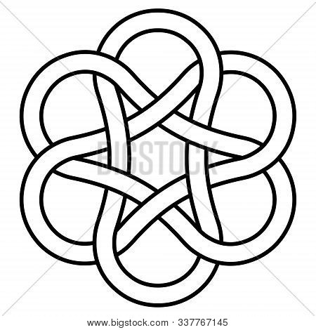 Ancient Infinity Knot Pattern, Sign Is A Symbol Of Good Luck And Wealth. Vector Jewelry Pattern Symb