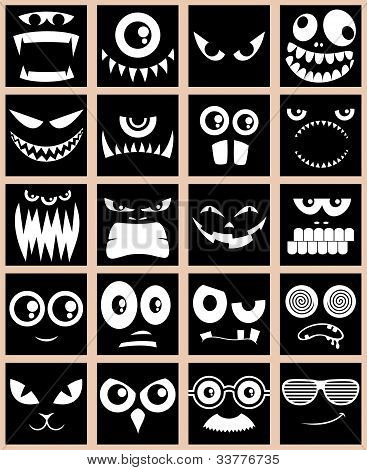 Set of 20 avatars in black and white. poster