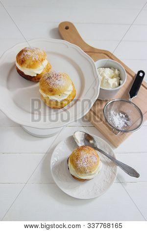 Fastelavn Carnival Buns Sweet Powder Traditional Nordic Food.