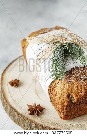 Stollen Is Fruit Bread Of Nuts, Spices, Dried Or Candied Fruit, Coated With Powdered Sugar. It Is Tr