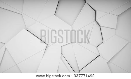 Abstract White Cg Background Texture, Polygonal Fragmented Relief Pattern On White Wall, Front View,