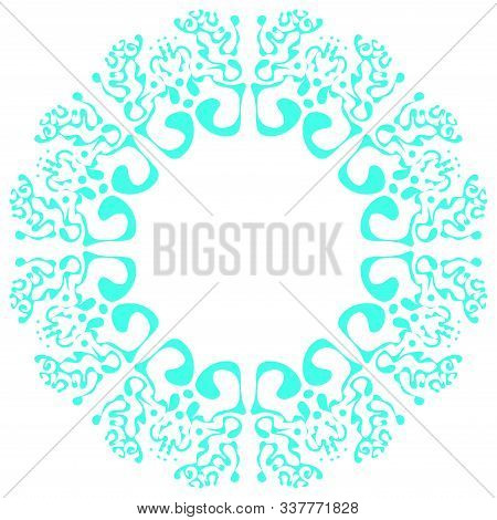 Floral Round Pattern, Circular Decorative Ceramic Ornament, Blue And White Mandala, Porcelain Backgr