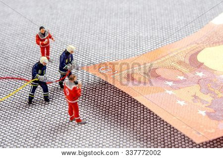 Closeup Of Miniature Figurines Dressed Like Members Of Firemen Special Team Interfering During Gas A