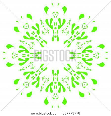 Bright Circular Ornament Consists Of Simple Shapes. Stylized Ethnic Motive. Mandala In Light Green A