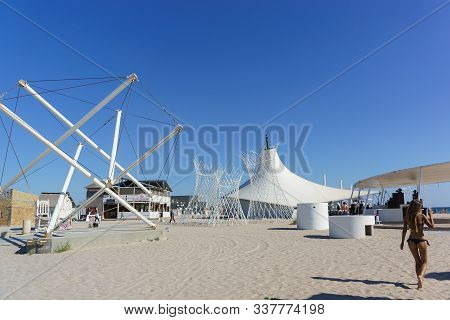 Popovka, Saki District, Crimea - 10 September 2019: White Art Objects On The Beach Z. City-excursion