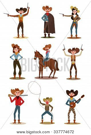 Set Of Cowboys And Cowgirls In Different Poses. Vector Illustration In Flat Cartoon Style.