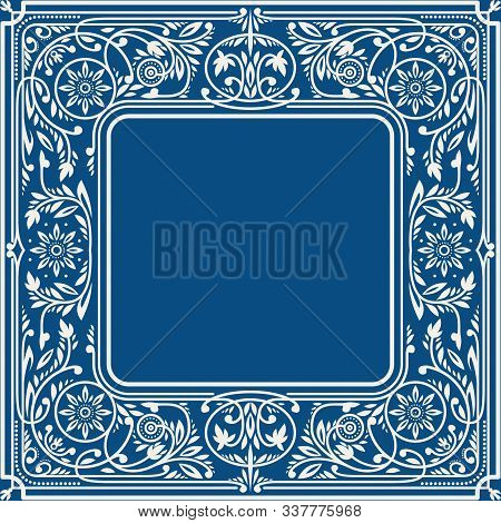 Classic Blue Floral Square Frame With Blank Space In The Centre. Book Cover Template