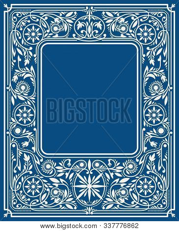 Classic Blue Floral Border Or Frame With Blank Space In The Centre. Book Cover Template