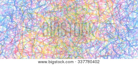 Pencil color scribble on white background. Horizontal long banner.