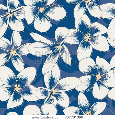 Floral Seamless Pattern With White Plumeria Flowers On Classic Blue Background