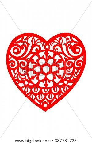 Lace heart in red, isolated on white