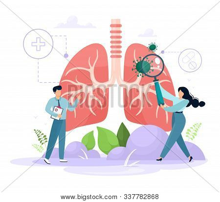 The Concept Of Pulmanology. Human Lungs With Tiny Healthcare Characters. Examination And Treatment O