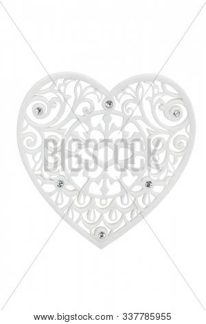 Lace heart with diamonds isolated on white