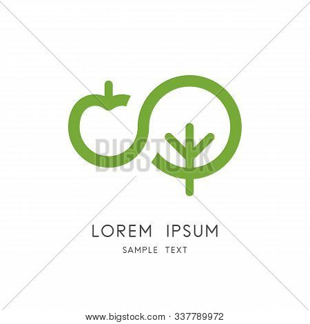 Apple Tree Logo - Green Plant And Fruit Symbol. Organic And Natural Food, Garden And Orchard Vector