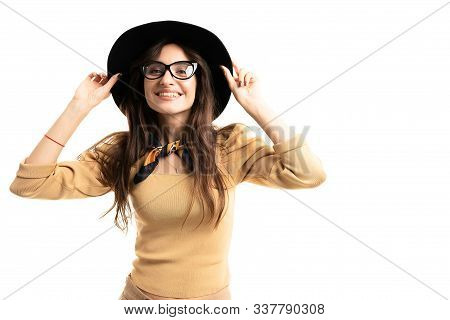 Office Brunette Model With Glasses, Hat And Neckerchief Posing For The Camera On White Background.