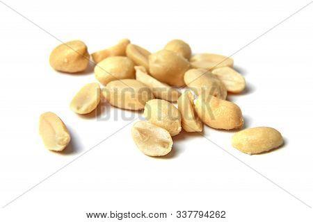 Peanuts Isolated On White Background. Roasted  Peeled Peanuts, Salted Snack