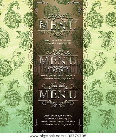 vintage card design for  invitation, menu, etc, with three different patterns
