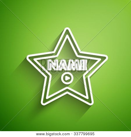 White Line Hollywood Walk Of Fame Star On Celebrity Boulevard Icon Isolated On Green Background. Hol