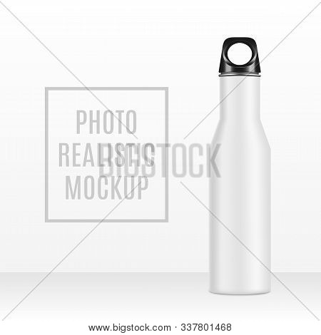 Vector Realistic 3d White And Black Empty Glossy Metal Water Bottle With Black Bung Icon Set Closeup