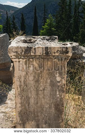 The Ancient Greek Column In Delphi, Greece