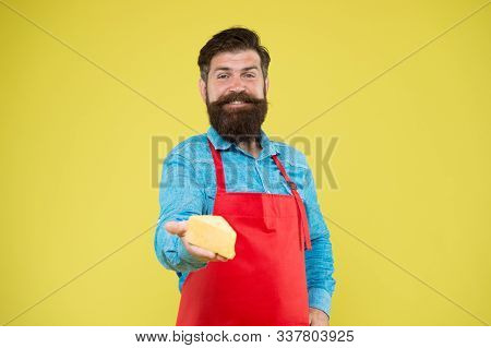 Quality Cheese Production. Happy Bearded Man Give Taste Cheese. Cheesemaking Concept. Cheese Maker O