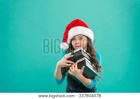 Packaging For Gifts. Lot Presents. Christmas Celebrated Throughout Globe. Small Girl Hold Pile Gift