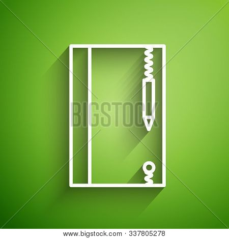 White Line Underwater Note Book And Pencil For Snorkeling Icon Isolated On Green Background. Water W