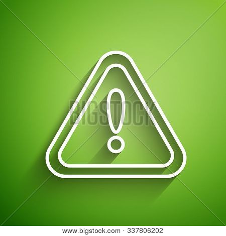 White Line Exclamation Mark In Triangle Icon Isolated On Green Background. Hazard Warning Sign, Care