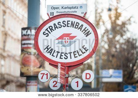 Vienna, Austria - November 6, 2019: Logo Of Wiener Linien On A Local Tram Stop (strassenbahn Haltest