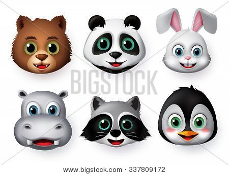 Animals Emoji And Emoticon Happy Face Vector Set. Emojis Or Emoticons Of Animals Creature Like Bear,