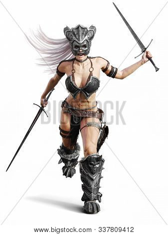 Fierce Armed Female Barbarian Warrior Running Into Battle On An Isolated White Background. 3d Render