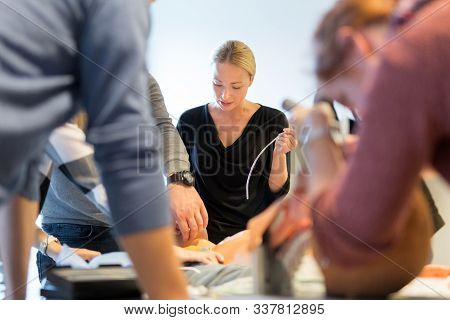 Medical Doctor Specialist Expert Displaying Method Of Patient Intubation On Hands On Medical Educati