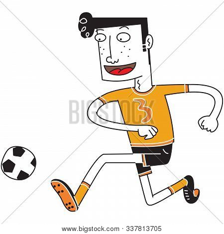 Illustration Of A Happy Foot Ball Player